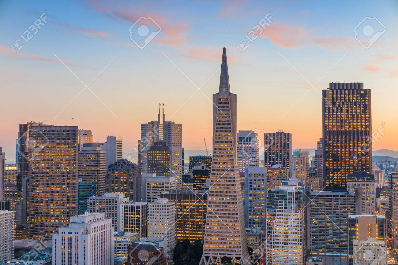 Beautiful view of  business center in downtown San Francisco at sunset. Stock Photo - 39354548
