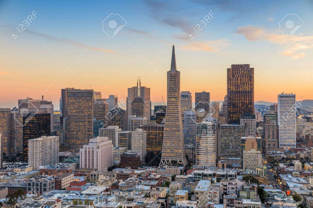 Beautiful view of  business center in downtown San Francisco at sunset. Stock Photo - 39354490