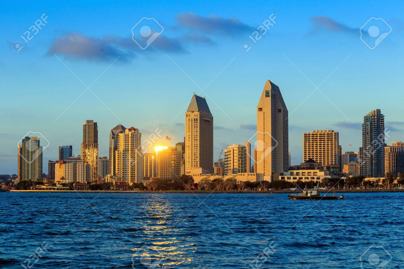 Skyline of San Diego, California from Coronado Bay, USA Stock Photo - 39354675