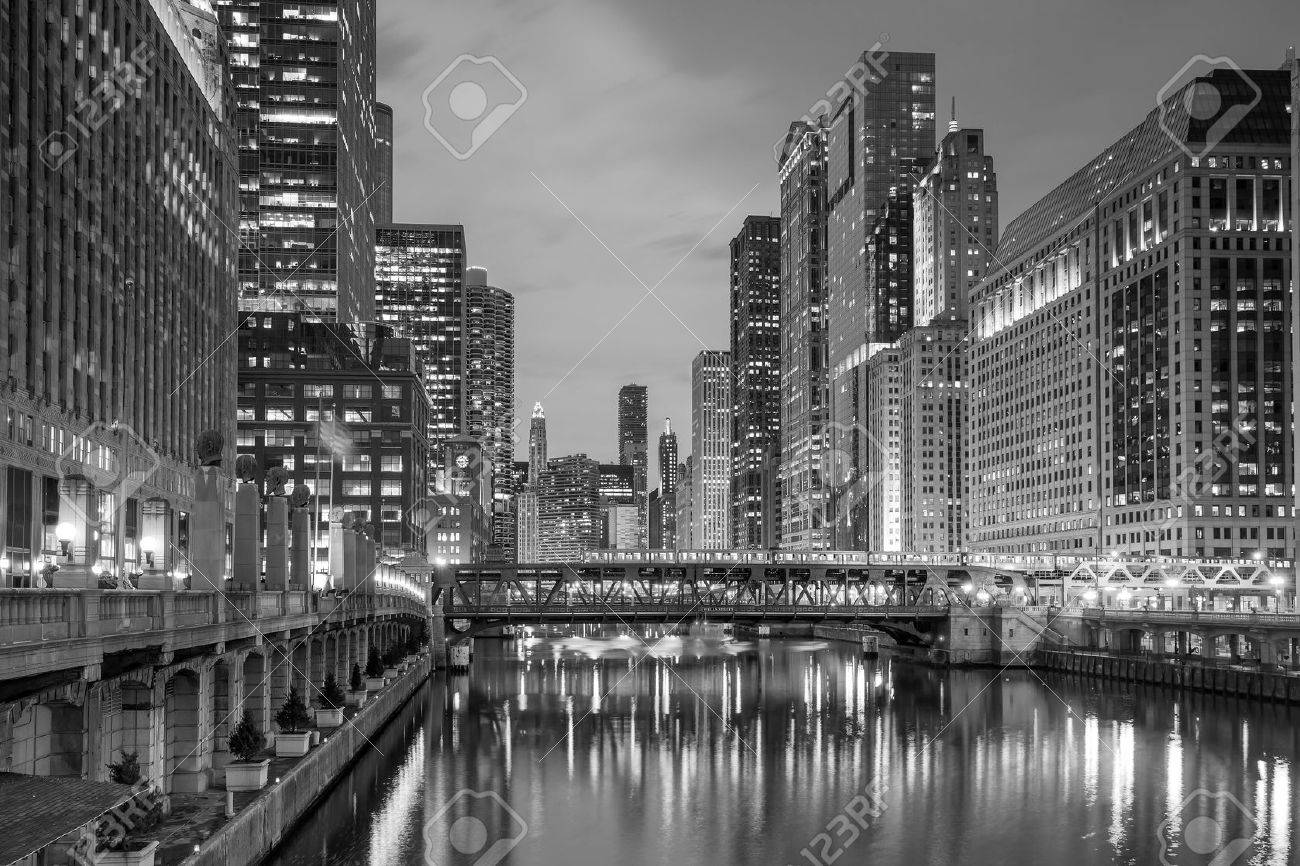 Chicago downtown and Chicago River at night. Stock Photo - 42105457