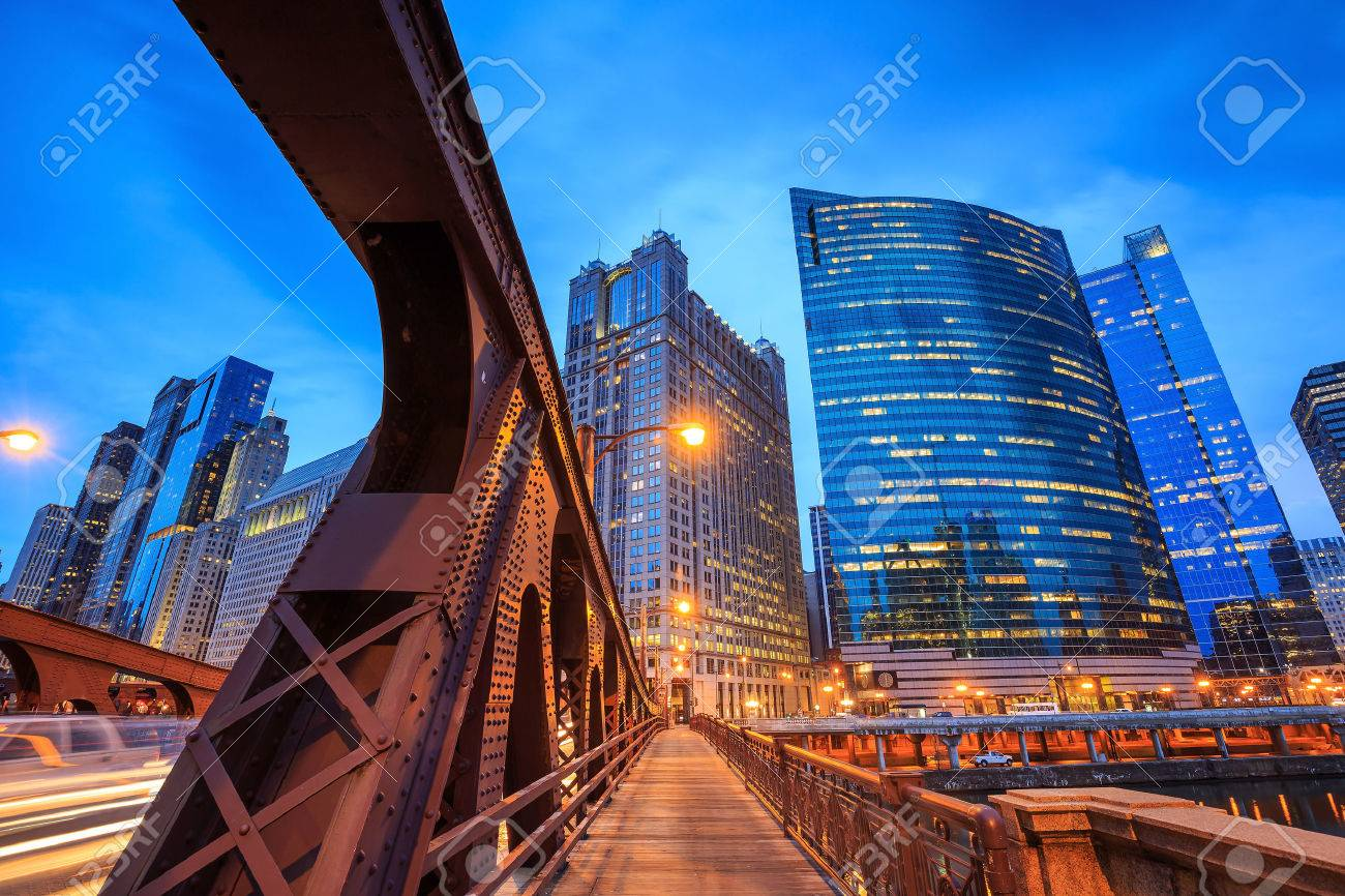 Chicago downtown and Chicago River at night. Stock Photo - 42105514