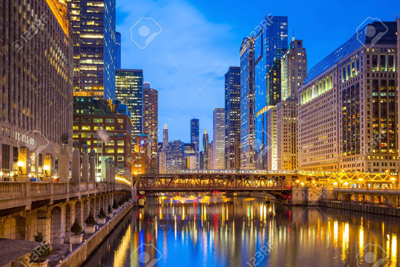 Chicago downtown and Chicago River at night. Stock Photo - 42105518