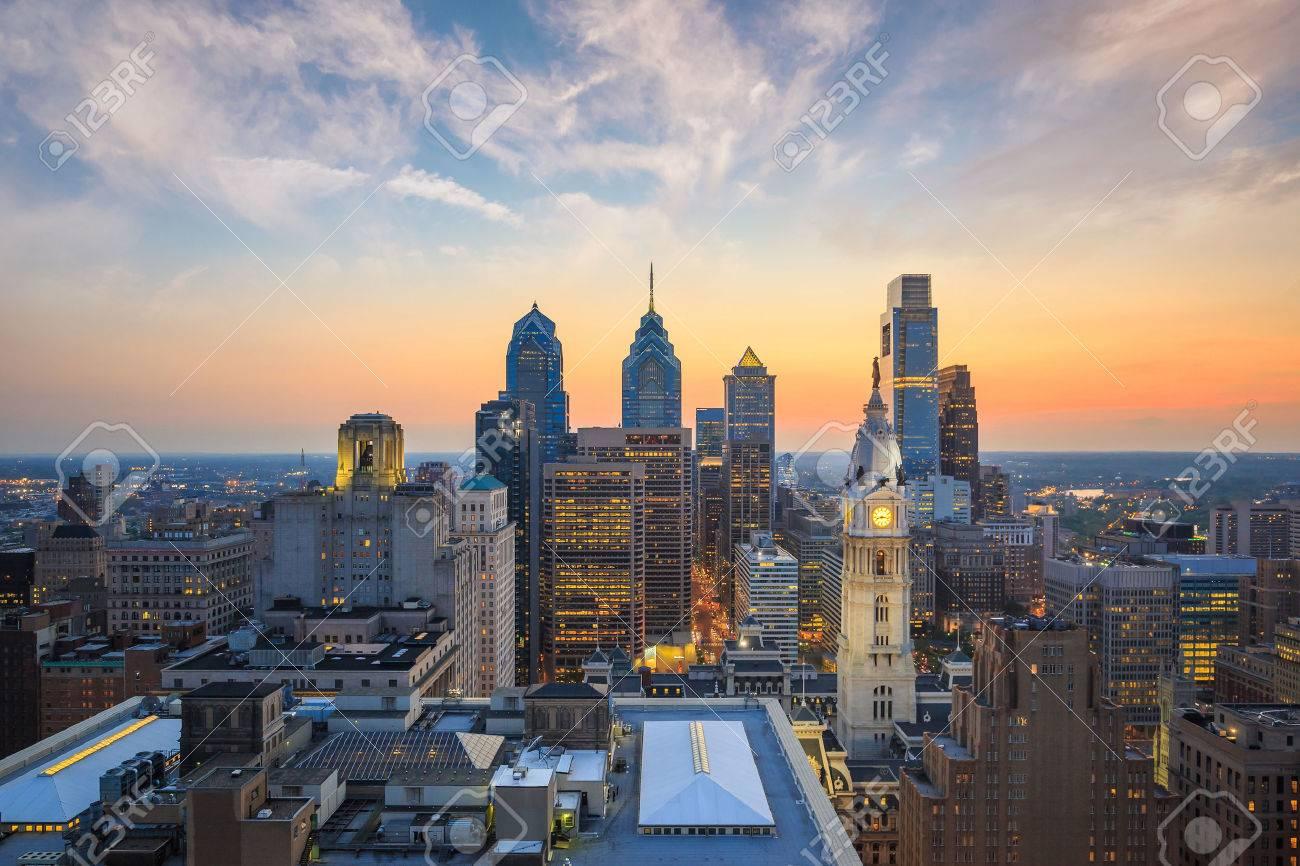 Skyline of downtown Philadelphia at sunset Stock Photo - 44408741