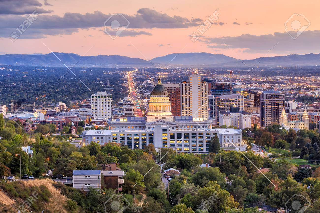 Salt Lake City skyline Utah at night Stock Photo - 48022629