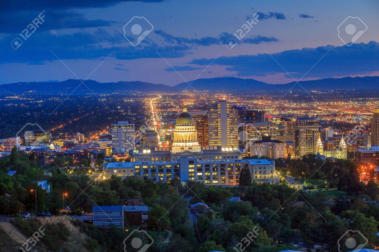 Salt Lake City skyline Utah at night Stock Photo - 48026397