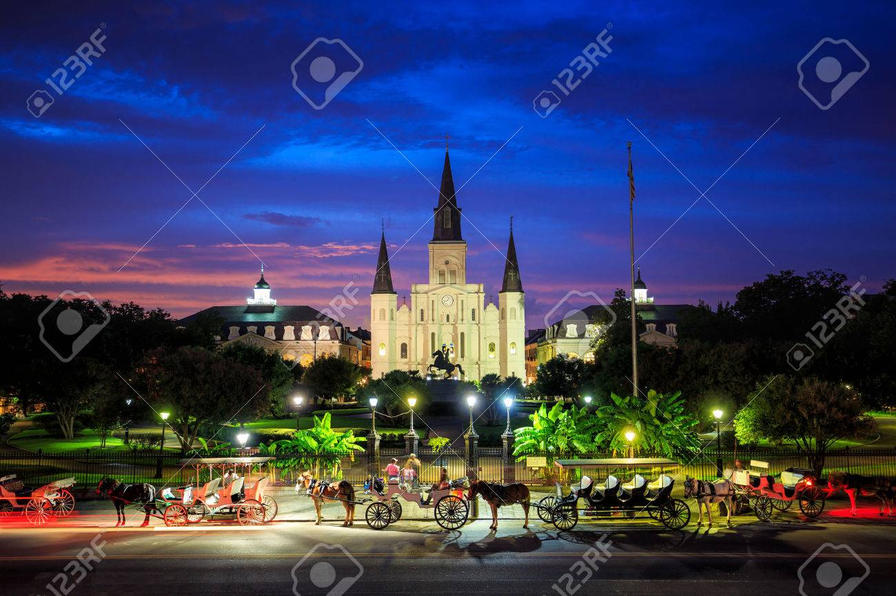 Saint Louis Cathedral and Jackson Square in New Orleans, Louisiana, United States at sunset Stock Photo - 50669612