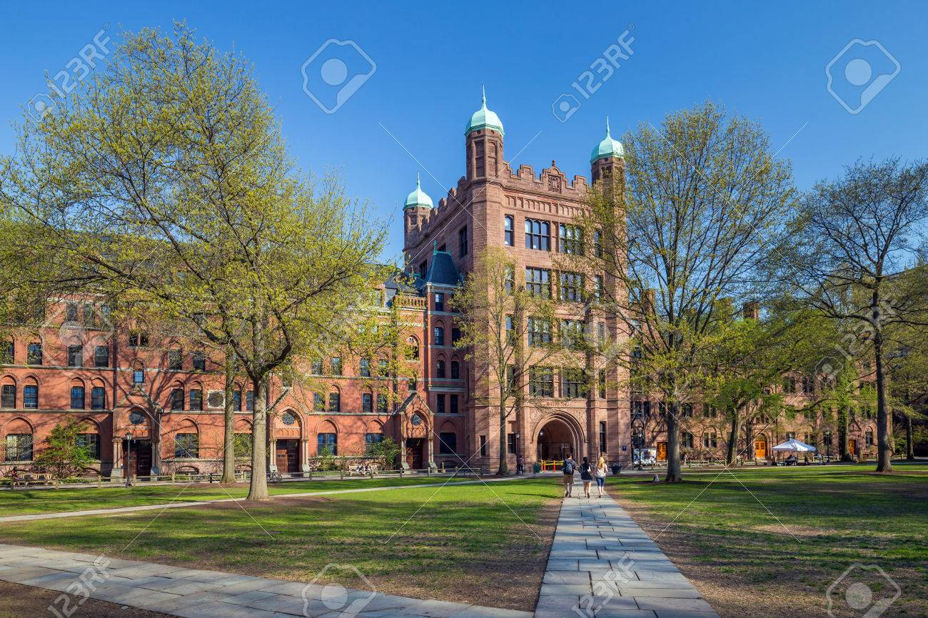 Yale university buildings in spring blue sky in New Haven, CT USA Stock Photo - 53573052