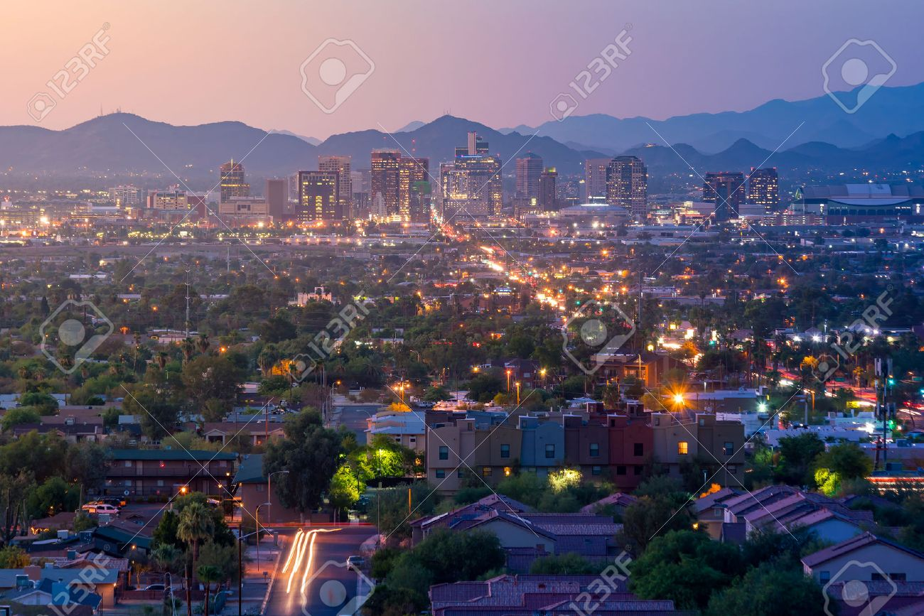 Top view of downtown Phoenix Arizona at sunset in USA Stock Photo - 62394181