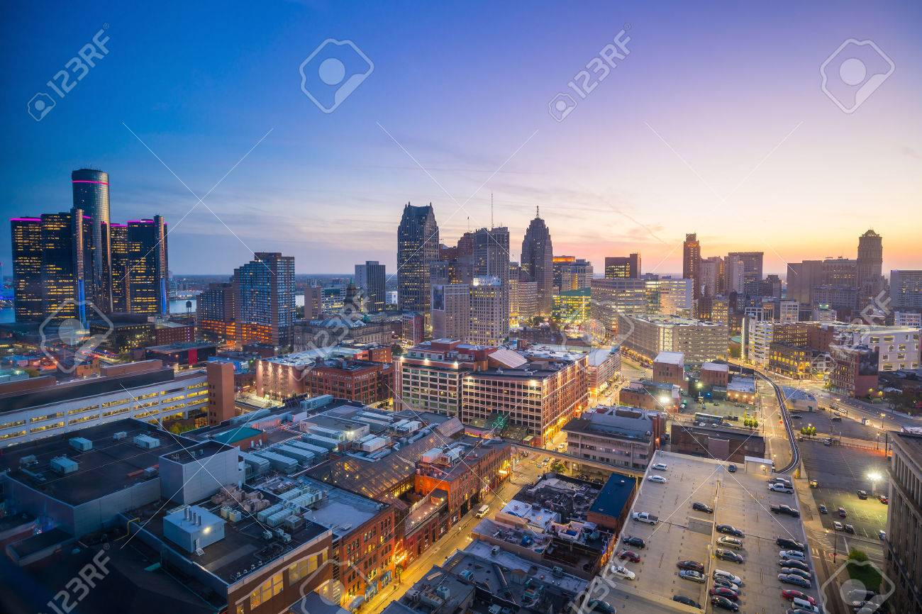 Aerial view of downtown Detroit at twilight in Michigan USA Stock Photo - 65837626