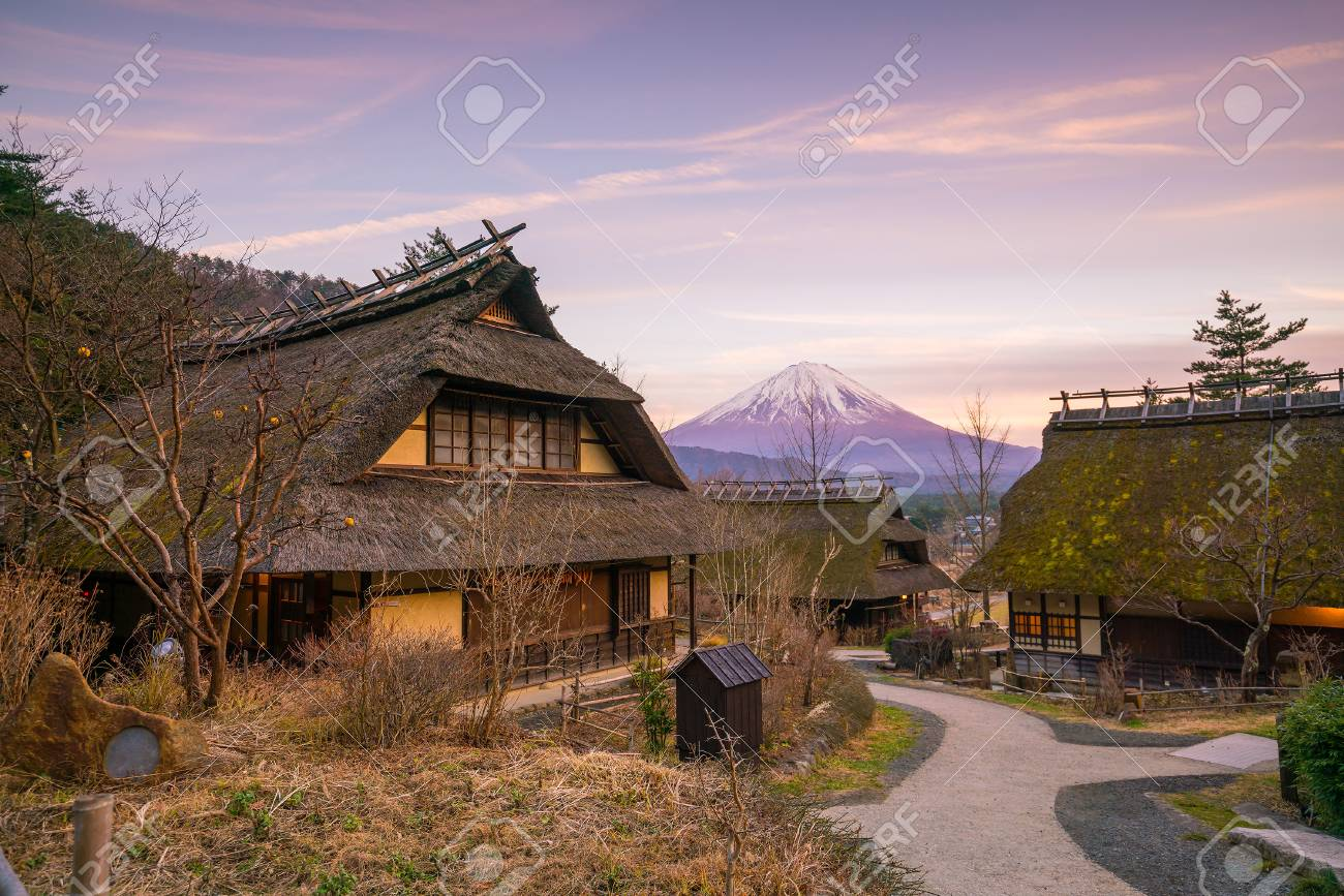 Old japanese style house and mt fuji at sunset in japan stock photo 71220581