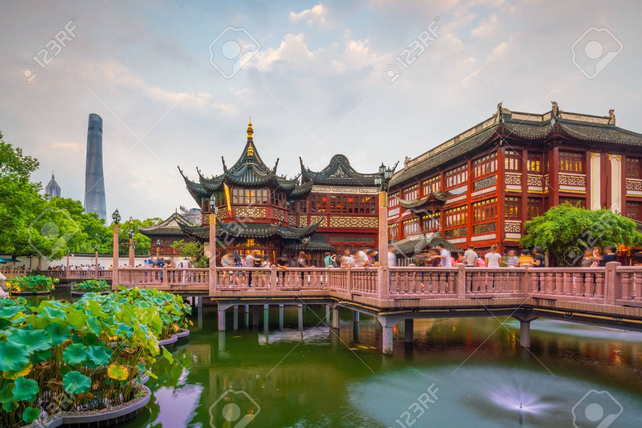 Shanghai, China view at the traditional Yuyuan Garden District at twilight - 87417330