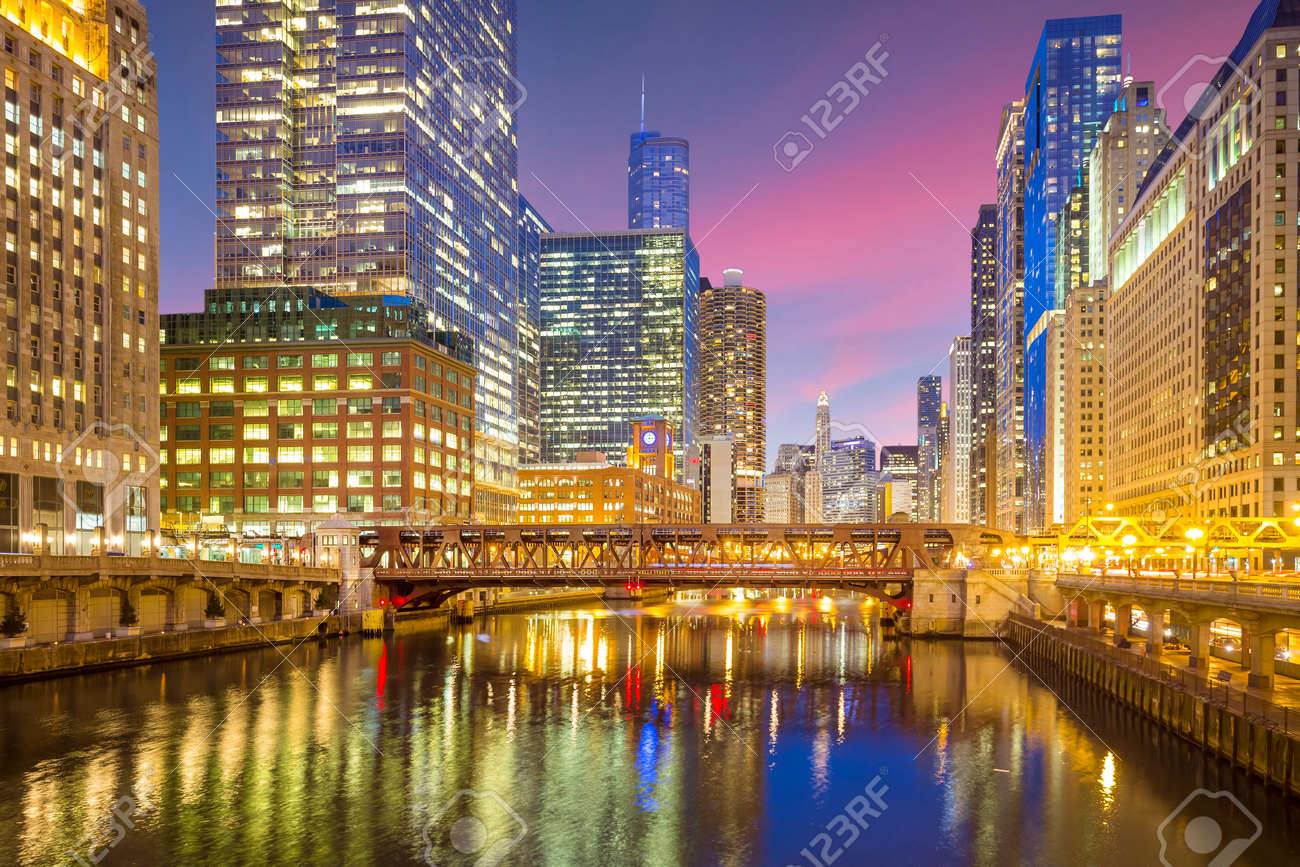 Chicago downtown and Chicago River at night. - 167656203