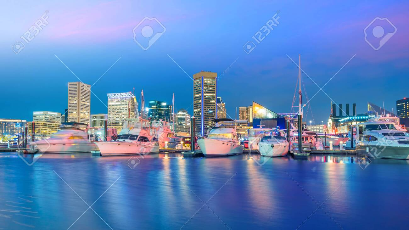 View of Inner Harbor area in downtown Baltimore Maryland USA at sunset - 133871709