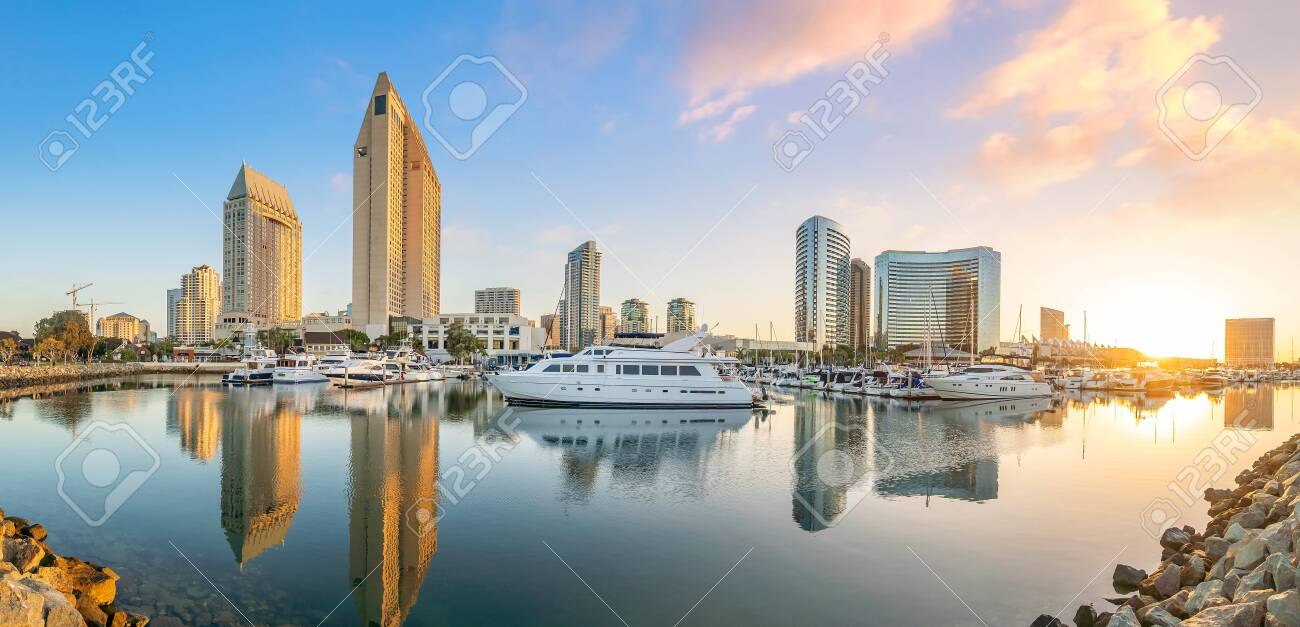 Downtown San Diego Skyline In California Usa At Sunset Stock Photo Picture And Royalty Free Image Image 133871721