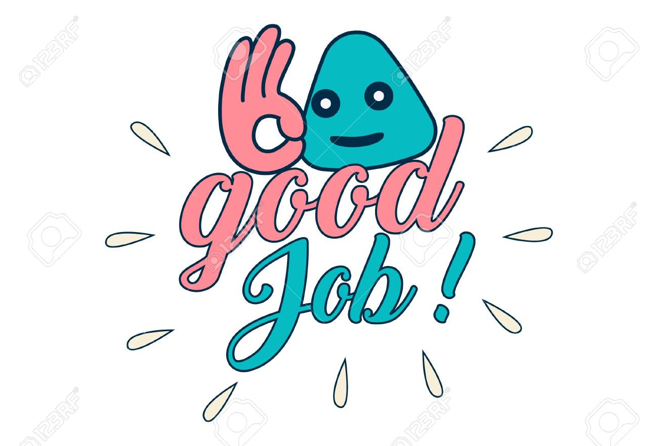 Vector Cartoon Illustration Good Job Text Sticker Royalty Free Cliparts Vectors And Stock Illustration Image 107668164