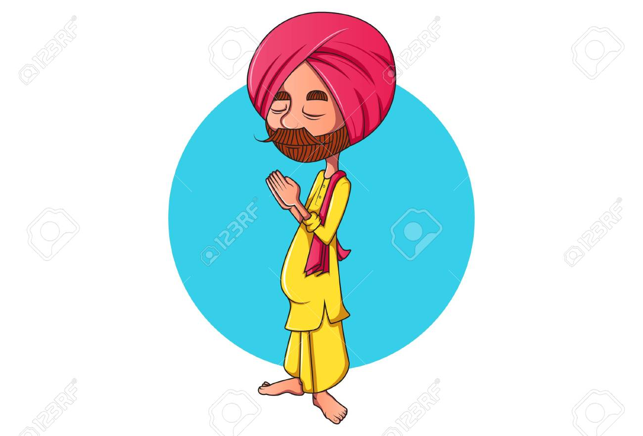 Vector Cartoon Illustration Punjabi Man Standing With Greet Royalty Free Cliparts Vectors And Stock Illustration Image 115137813