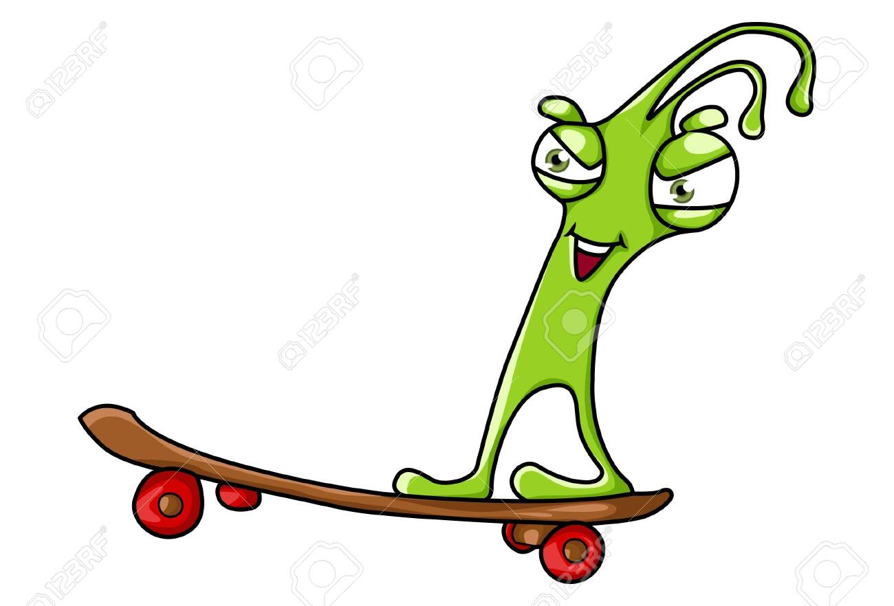 Vector cartoon illustration of cute green monster running on skating. Isolated on white background. - 119095150