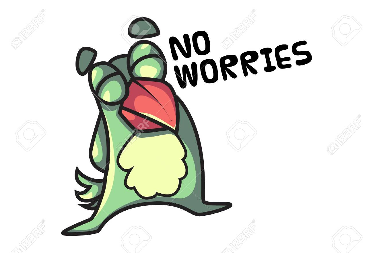 Vector cartoon illustration of cute parrot saying no worries. Isolated on white background. - 120383587