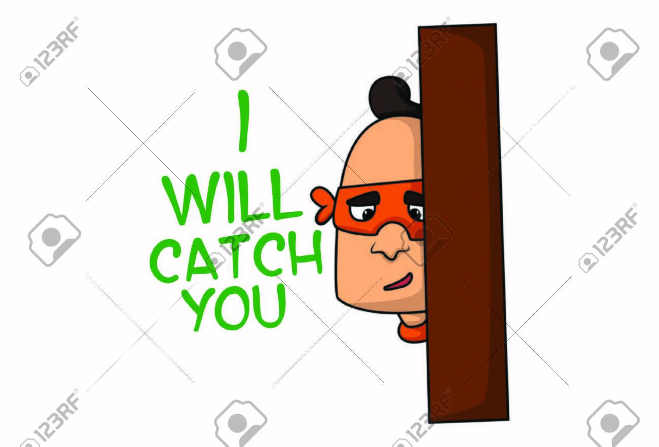 Vector cartoon illustration of mask man says i will catch you. Isolated on white background. - 128904063