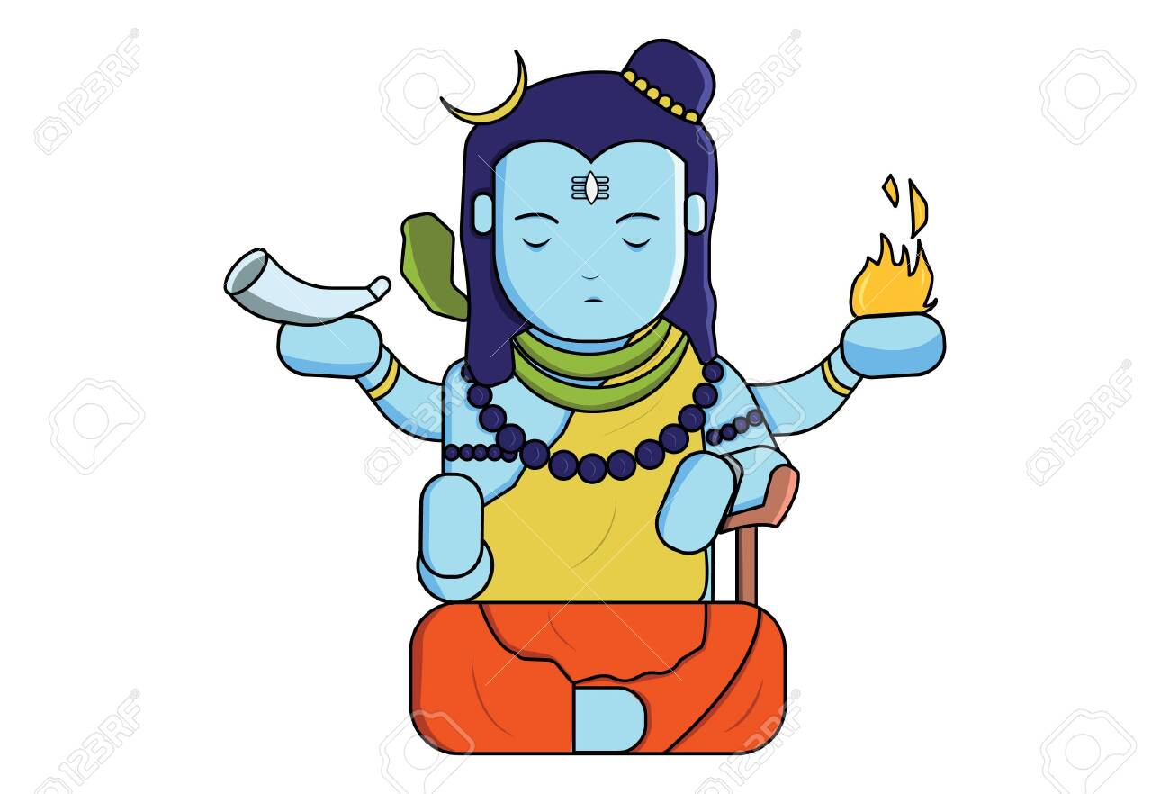 Vector Cartoon Illustration Of God Shiva Isolated On White Background Royalty Free Cliparts Vectors And Stock Illustration Image 136415229