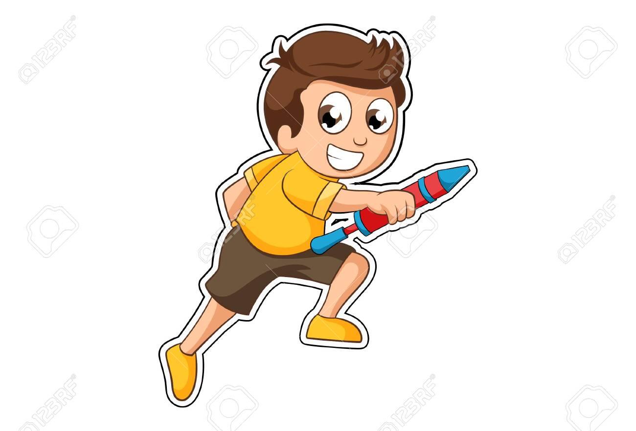 Vector cartoon illustration of boy with holi pichkari. Isolated on white background. - 143000069