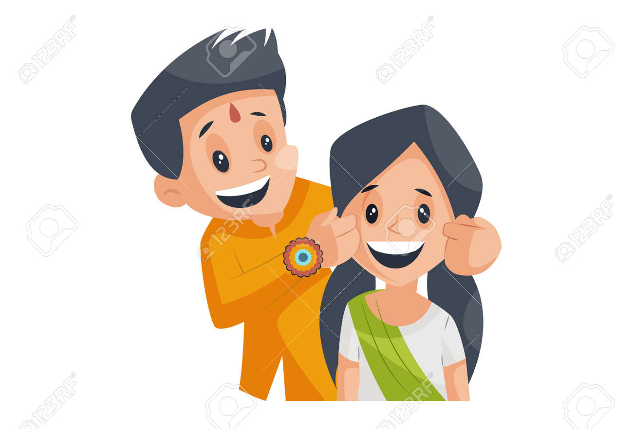 Vector graphic illustration. Brother is pulling his sister's cheek. Individually on a white background. - 161032095
