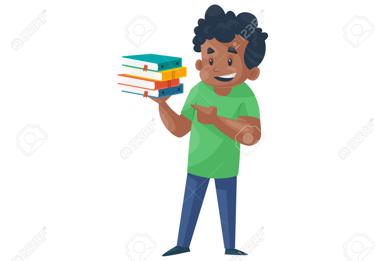 Office boy is holding books. Vector graphic illustration. Individually on a white background. - 171713397