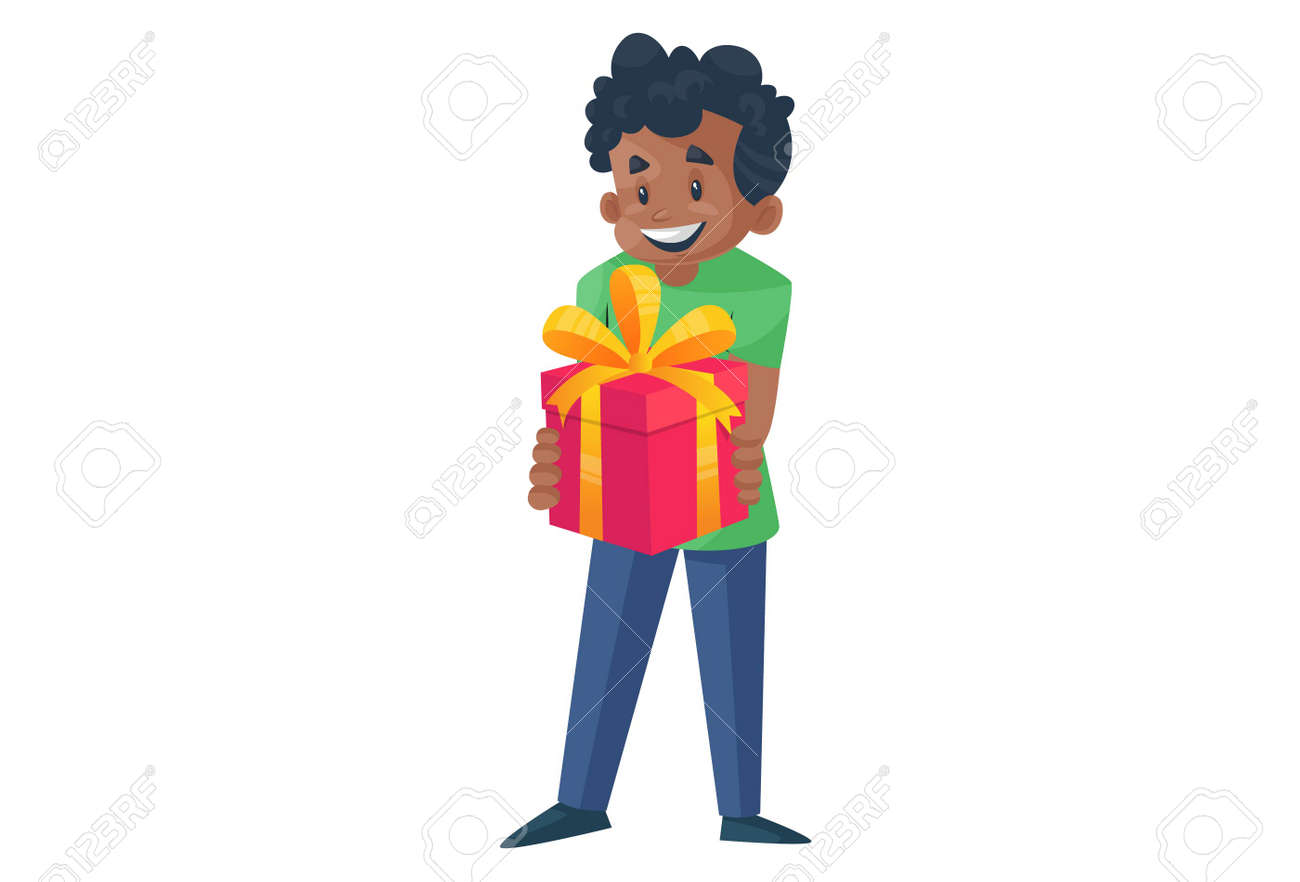 Office boy is holding a gift box in his hands. Vector graphic illustration. Individually on a white background. - 171713267