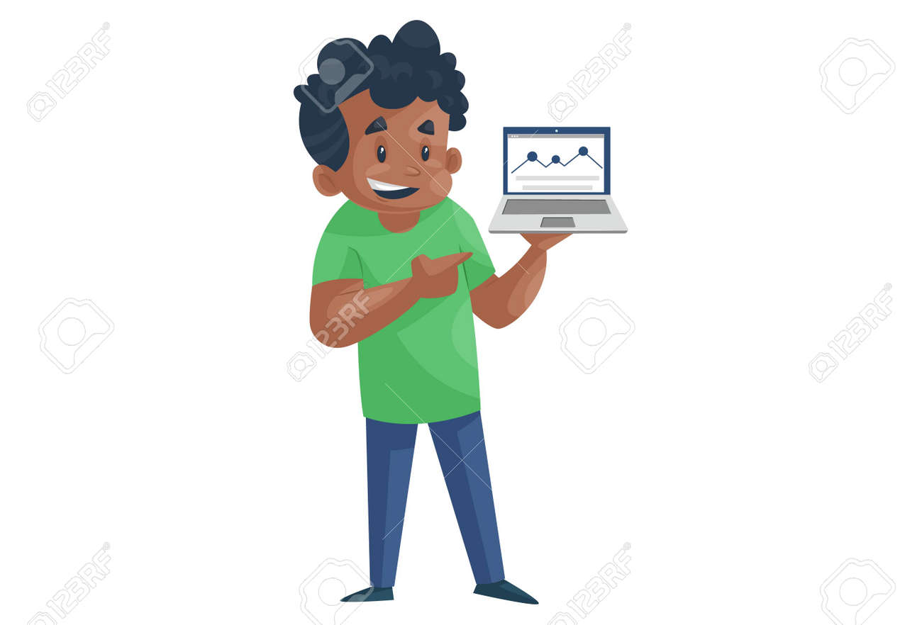 Office boy is holding a laptop in hand. Vector graphic illustration. Individually on a white background. - 171712877
