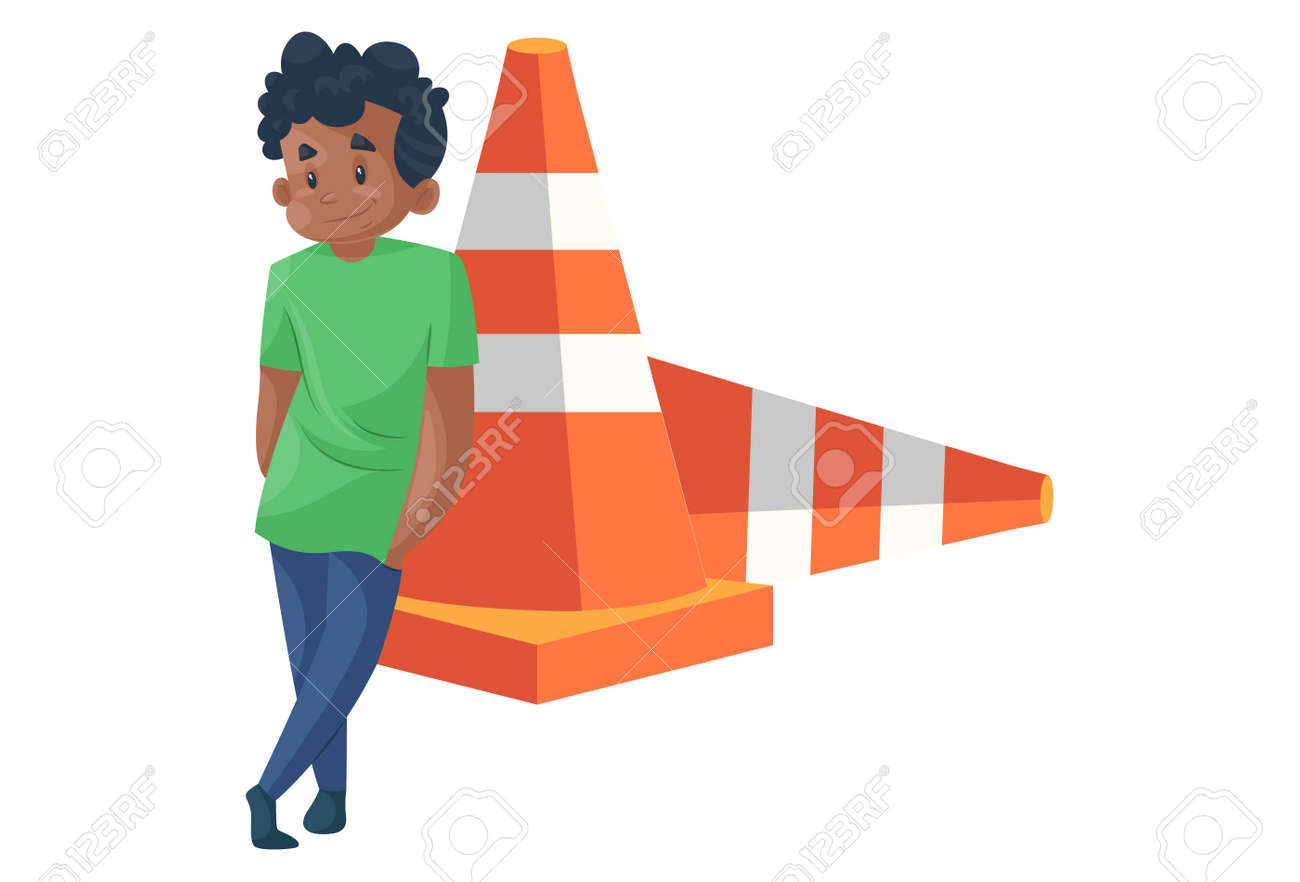 Office boy is standing with a barrier. Vector graphic illustration. individually on a white background. - 171713241
