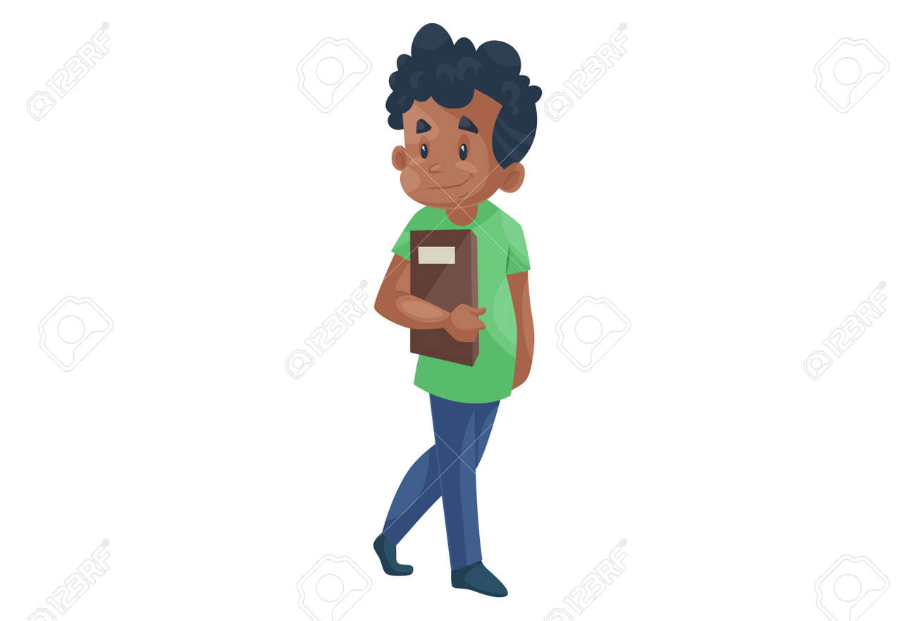 Vector graphic illustration. Office boy is holding a file in hand. Individually on a white background. - 171712926