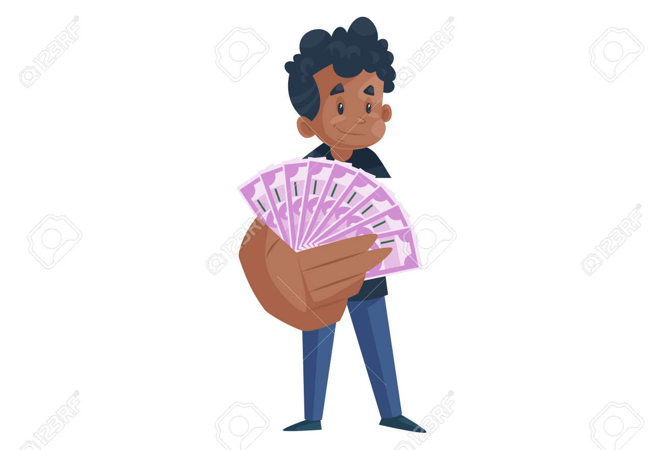 Office boy is showing money in hand. Vector graphic illustration. Individually on a white background. - 171713063