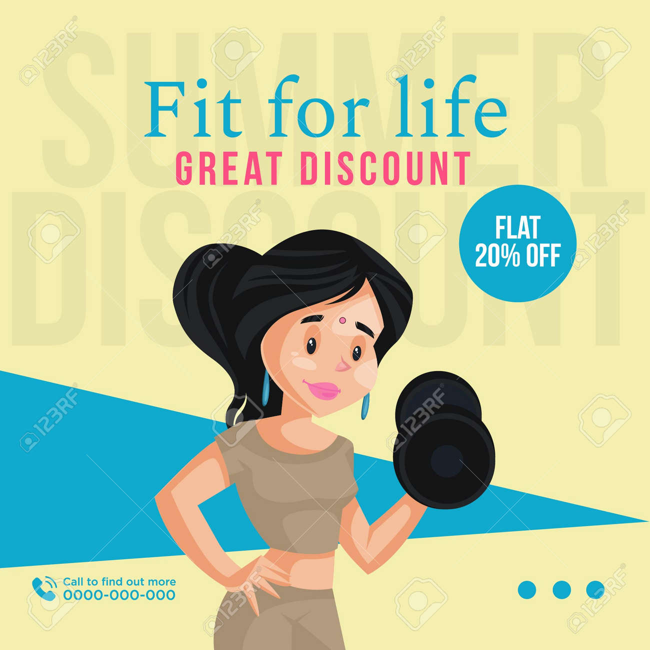 Banner design of fit for life great discount template. Vector graphic illustration. - 171677488