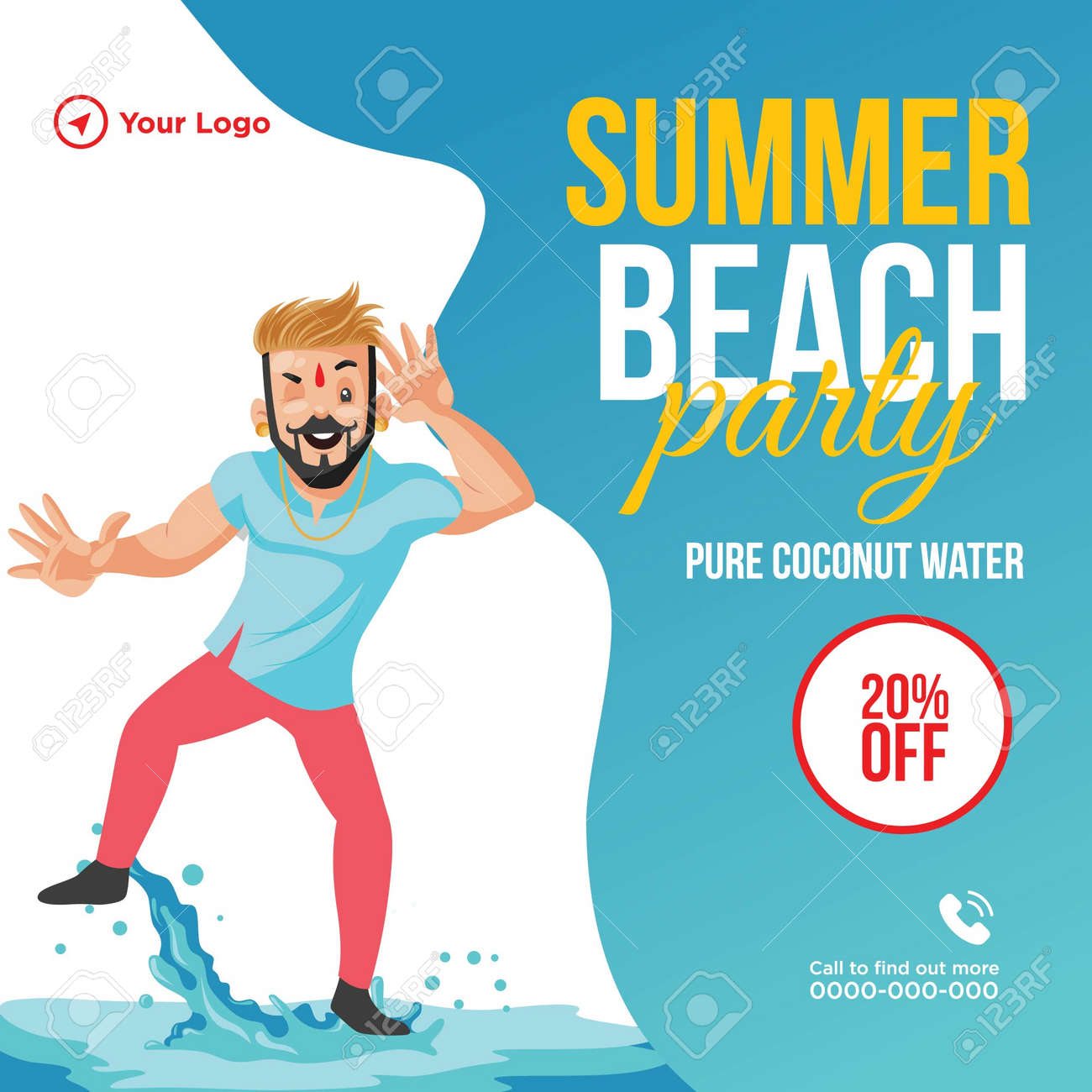 Summer beach party banner design template. Vector graphic illustration. - 171677491