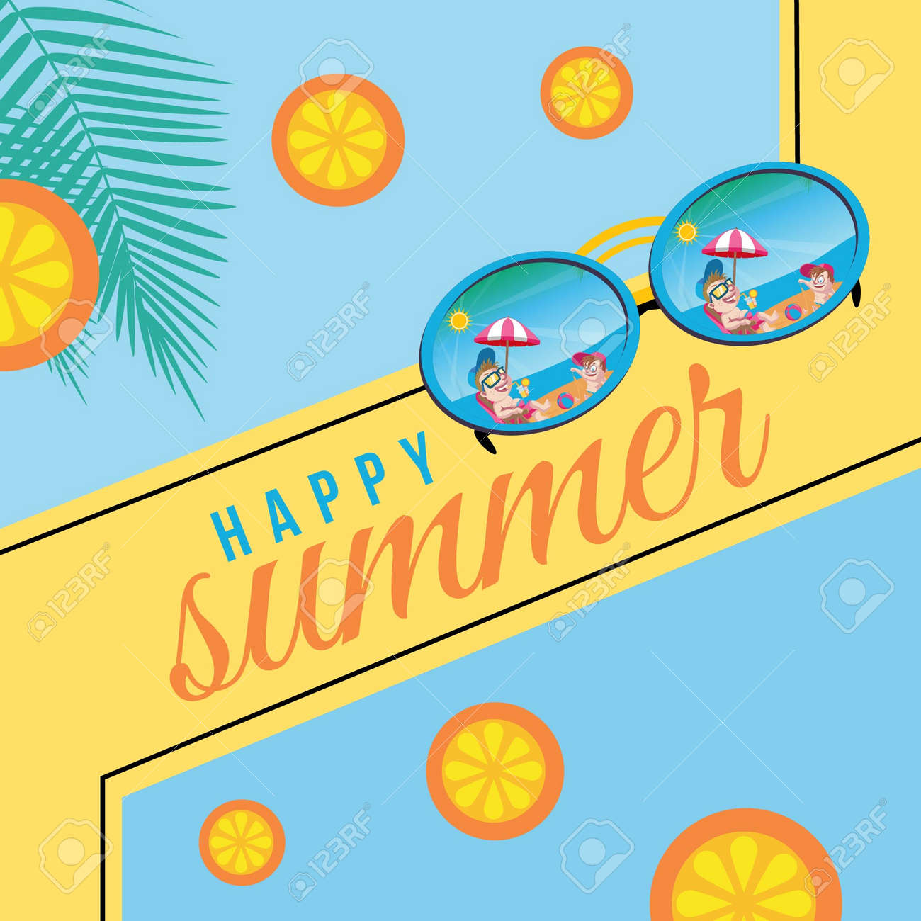 Banner design of happy summer template. Vector graphic illustration. - 171677495
