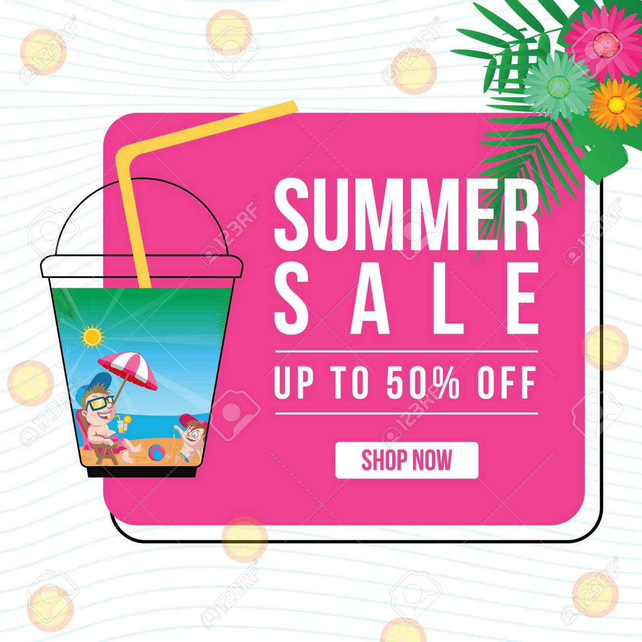 Summer sale banner design template. Vector graphic illustration. - 171677499