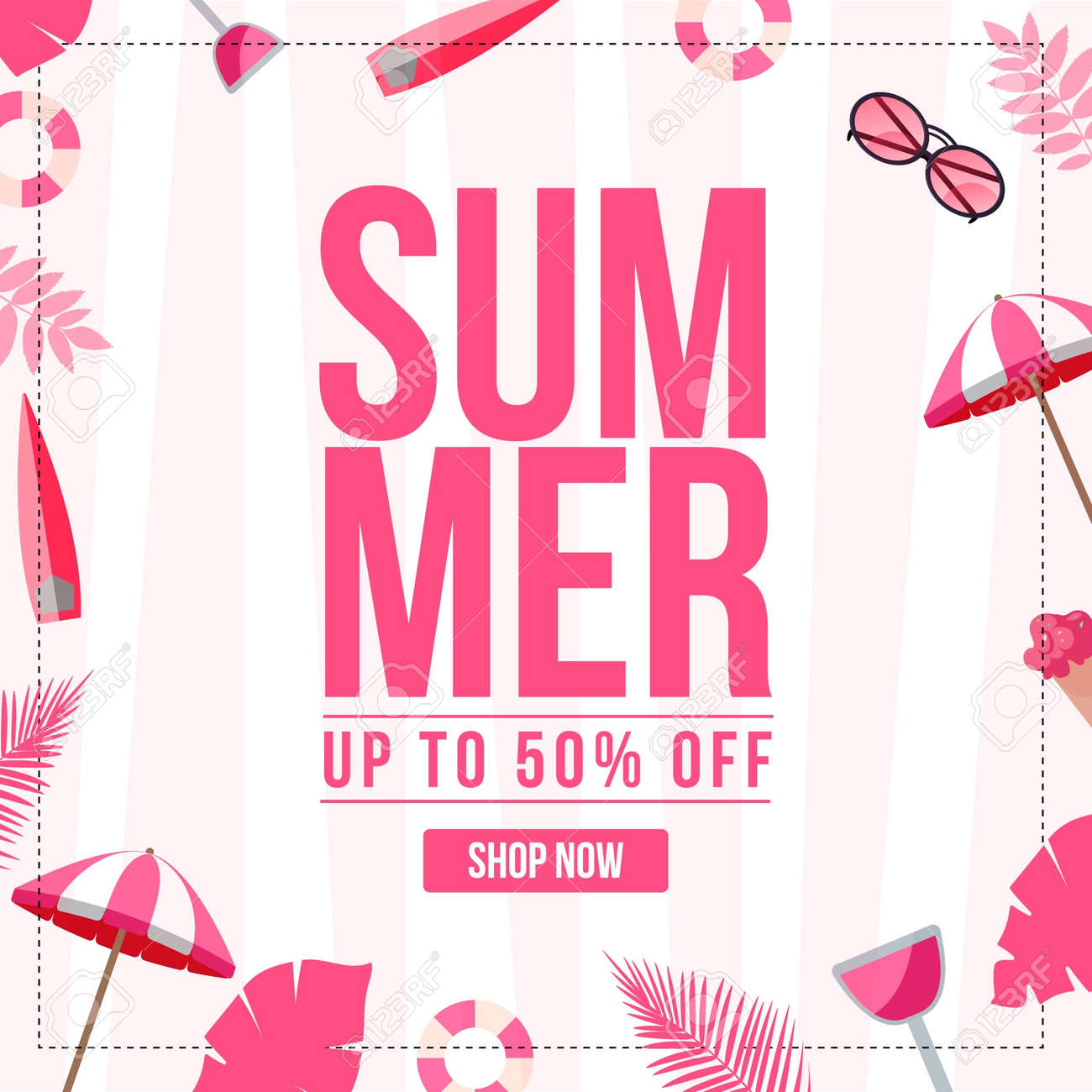Banner design of summer sale template. Vector graphic illustration. - 171677503