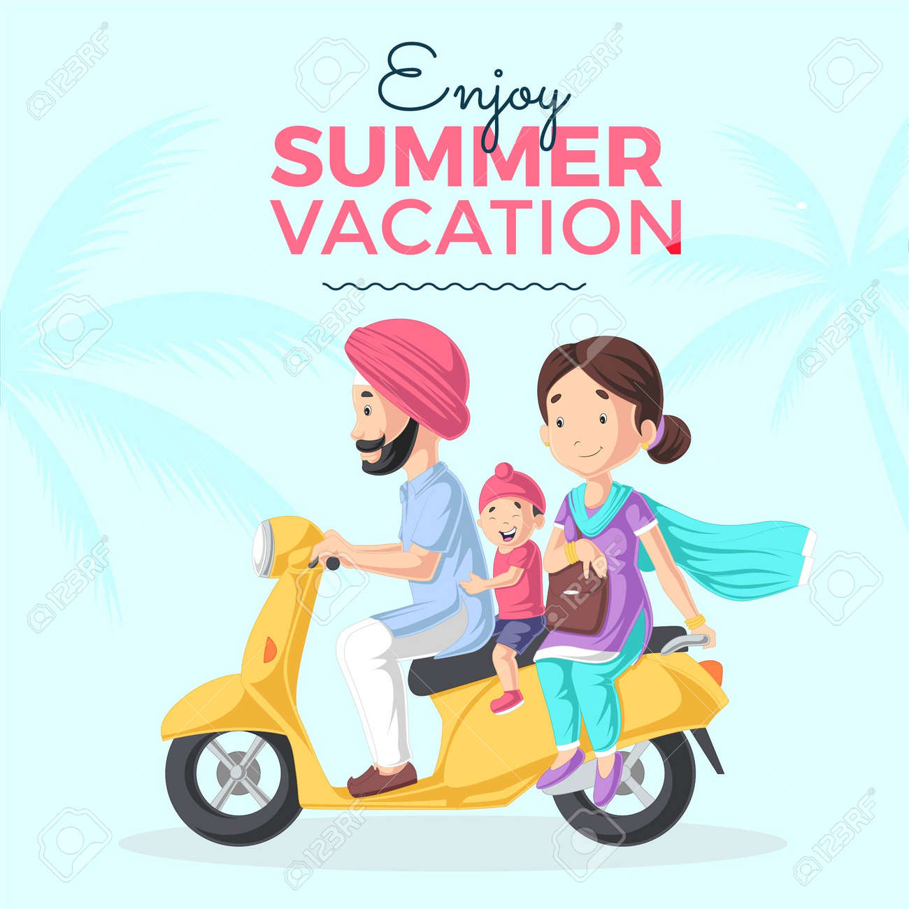 Enjoy summer vacation banner design template. Vector graphic illustration. - 171727314
