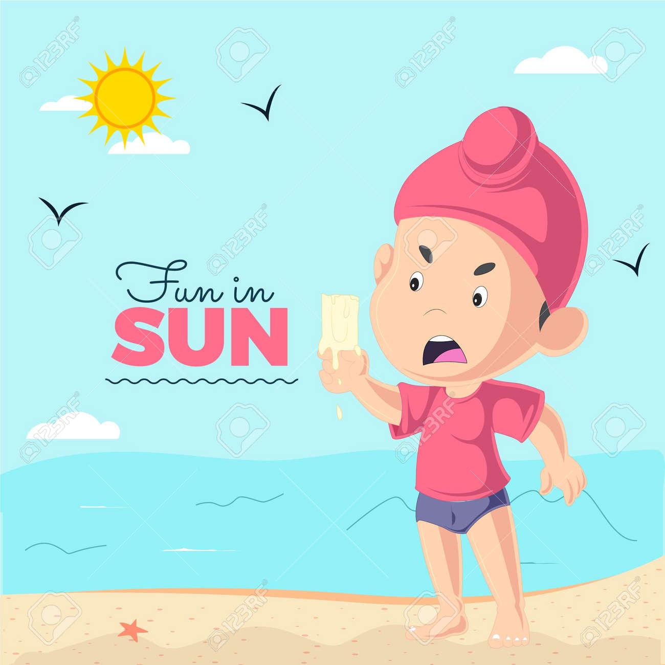 Fun in sun banner design with Punjabi kid ice cream is melting template. Vector graphic illustration. - 171727321