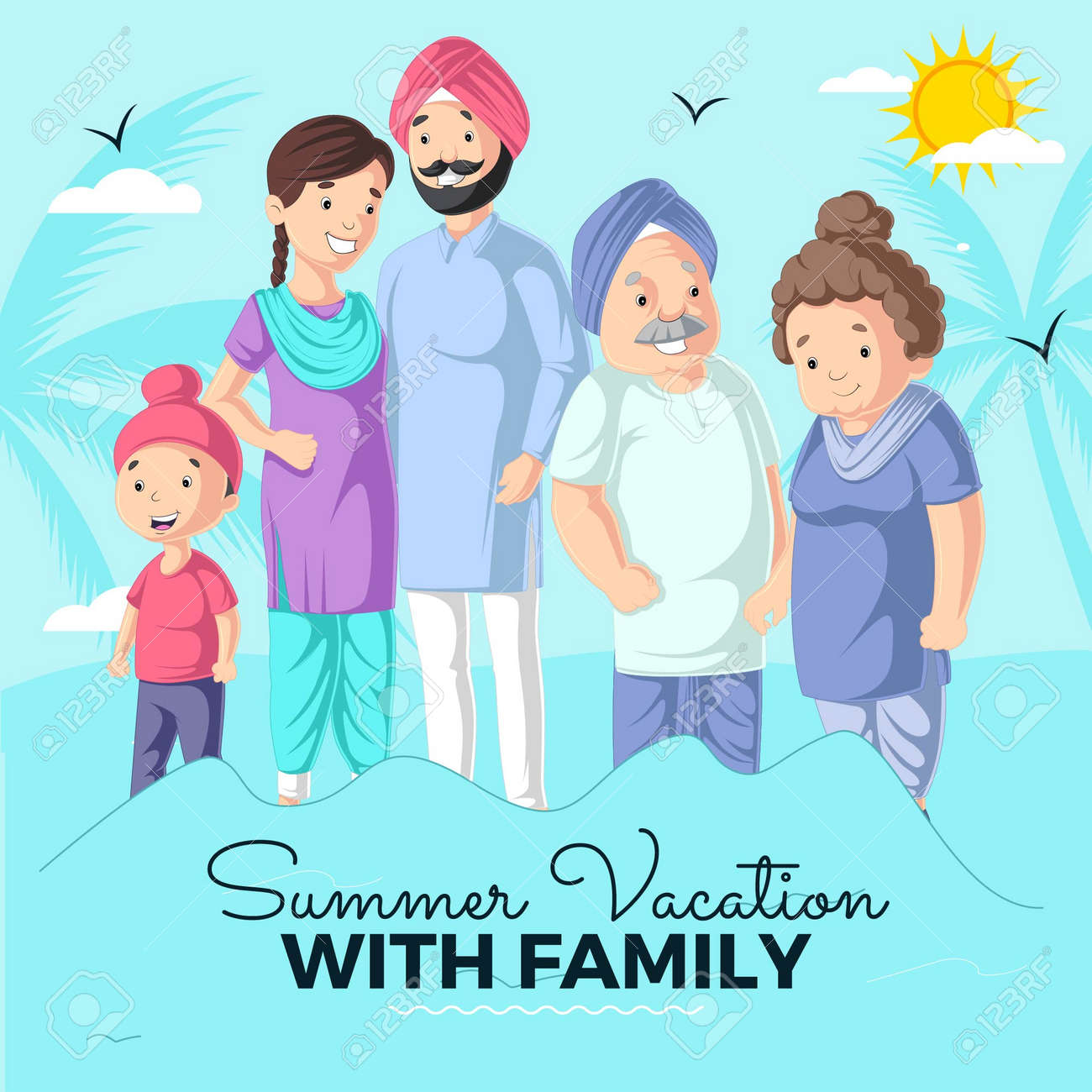 Summer vacation with family banner design template. Vector graphic illustration. - 171727325
