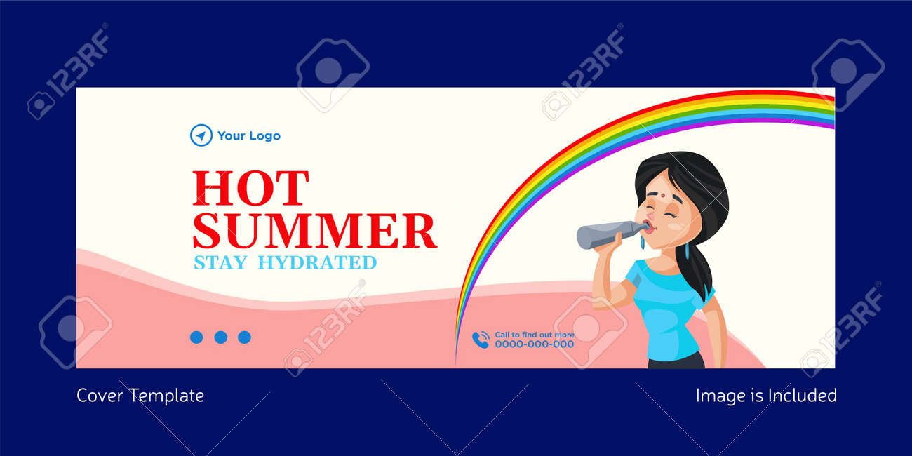 Hot summer stay hydrated cover page template design. Vector graphic illustration. - 171727356