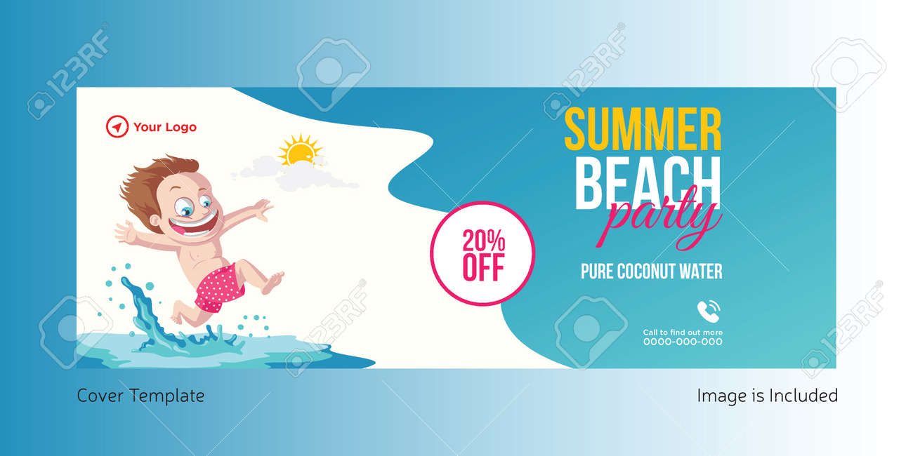 Summer beach party cover page design. Vector graphic illustration. - 171727365