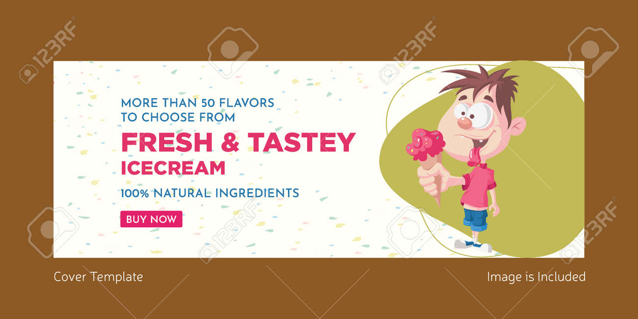 Fresh and tasty ice cream cover page design. Vector graphic illustration. - 171727368