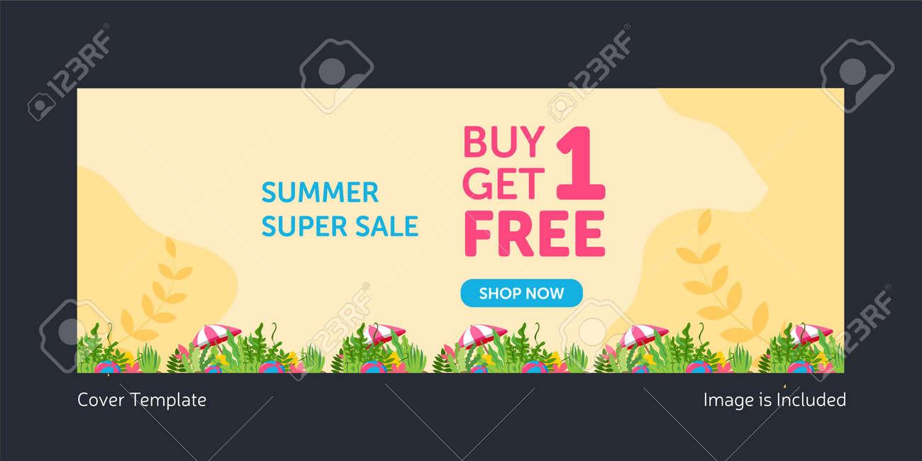 Summer super sale cover page design. Vector graphic illustration. - 171727376