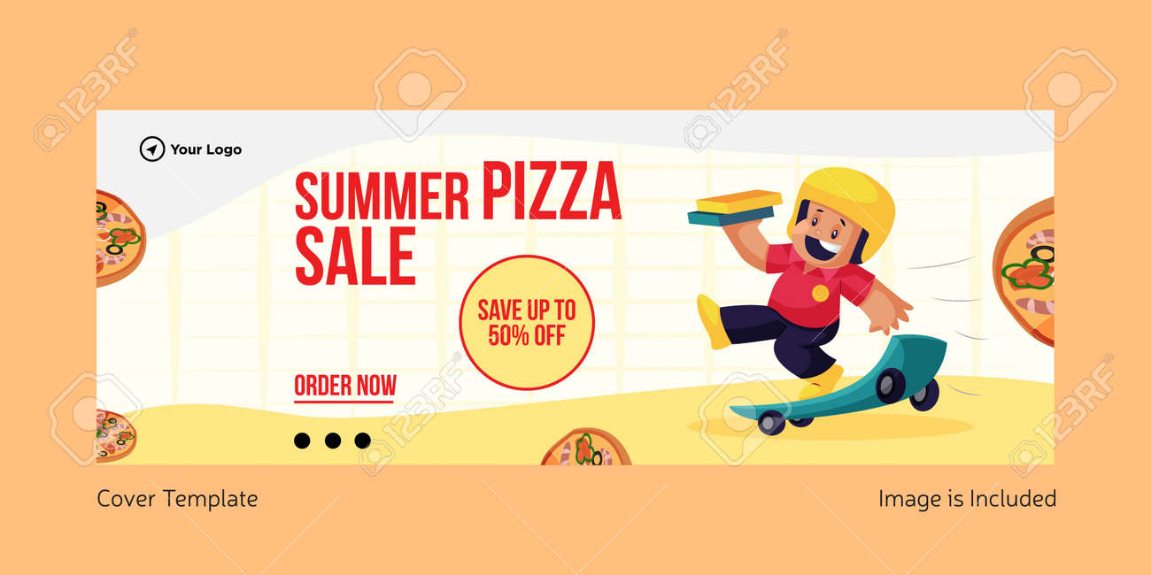 Summer pizza sale cover page design. Vector graphic illustration. - 171727475