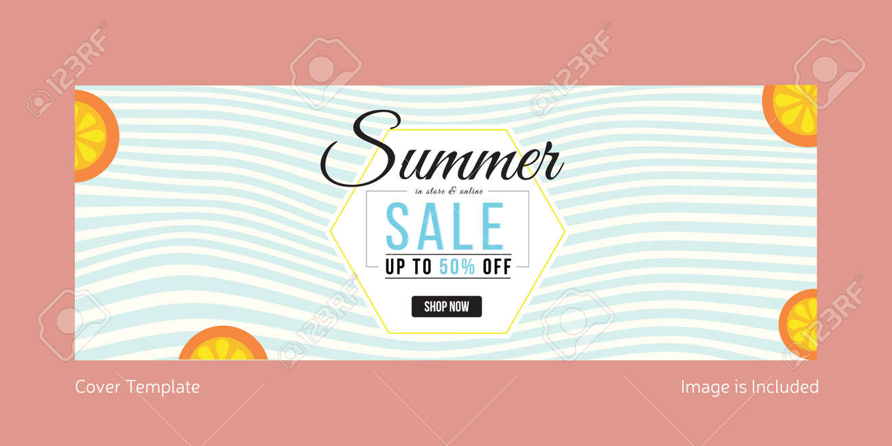 Summer sale cover page template design. Vector graphic illustration. - 171727473