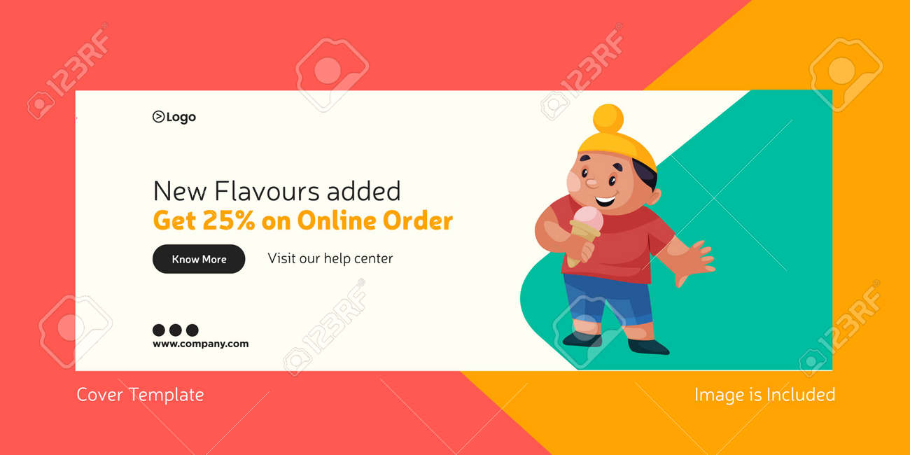 Cover page of ice cream new flavors added. Vector graphic illustration. - 171727479