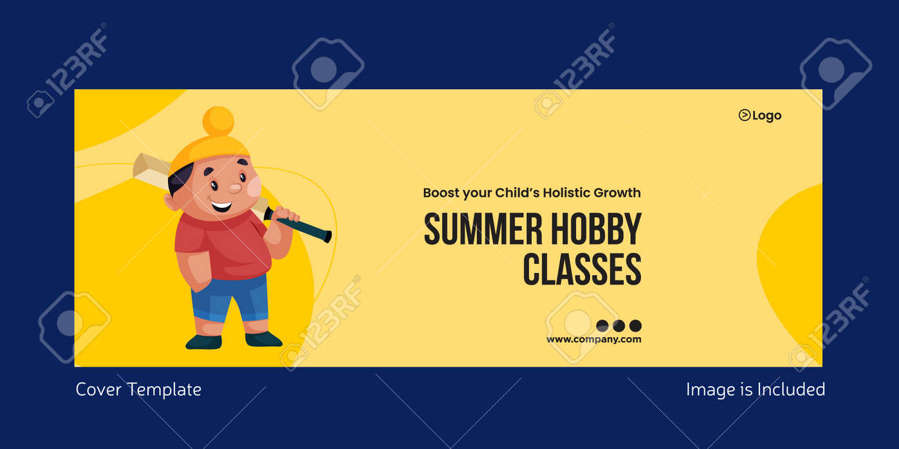 Cover page of summer hobby classes page design. Vector graphic illustration. - 171724630
