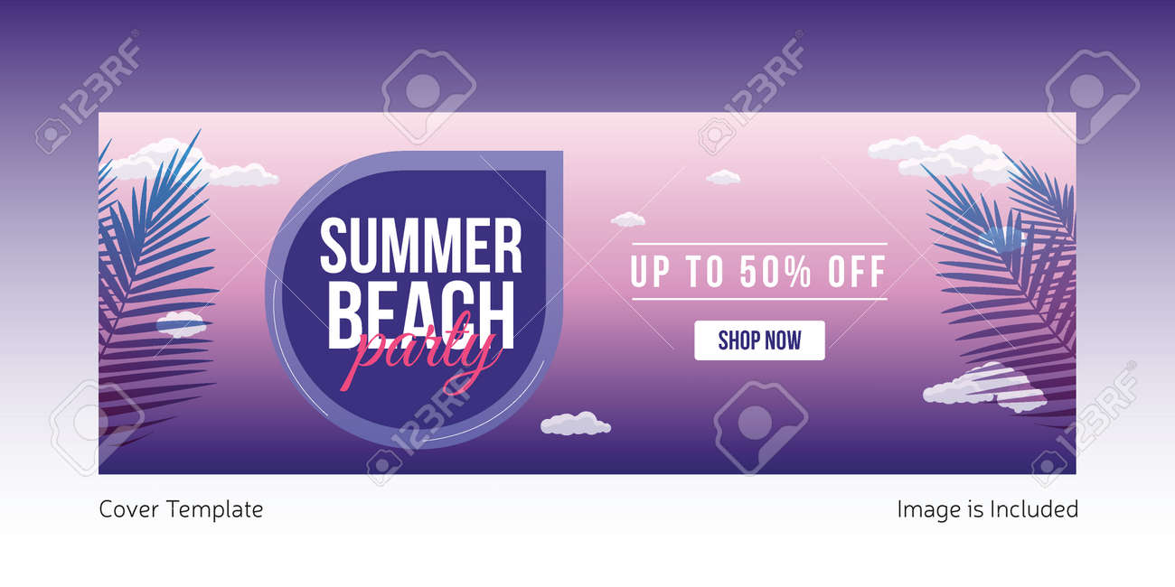 Summer beach party cover page template design. Vector graphic illustration. - 171724178