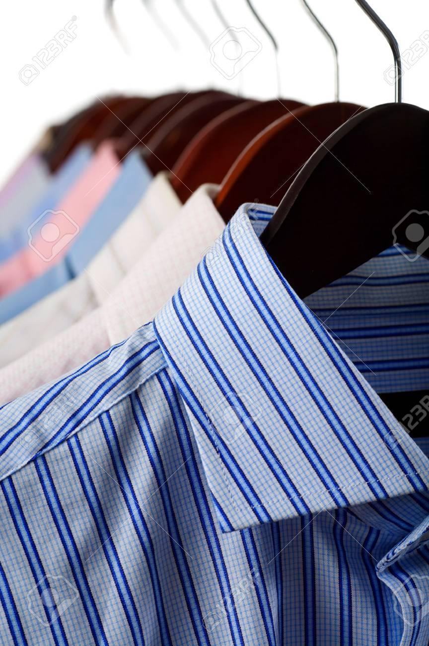 Close-up rack shirts isolated on white background Stock Photo - 3770022